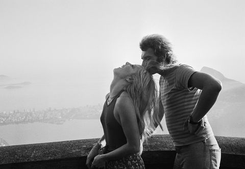 french singer sylvie vartan and husband french actor johnny hallyday in rio de janeiro, brazil photo by alain dejeansygma via getty images