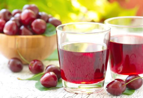 Cherry juice with fresh berries