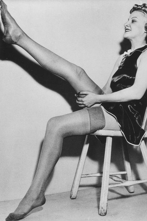 Leg, Human leg, Retro style, Sitting, High heels, Black-and-white, Footwear, Monochrome, Joint, Thigh,