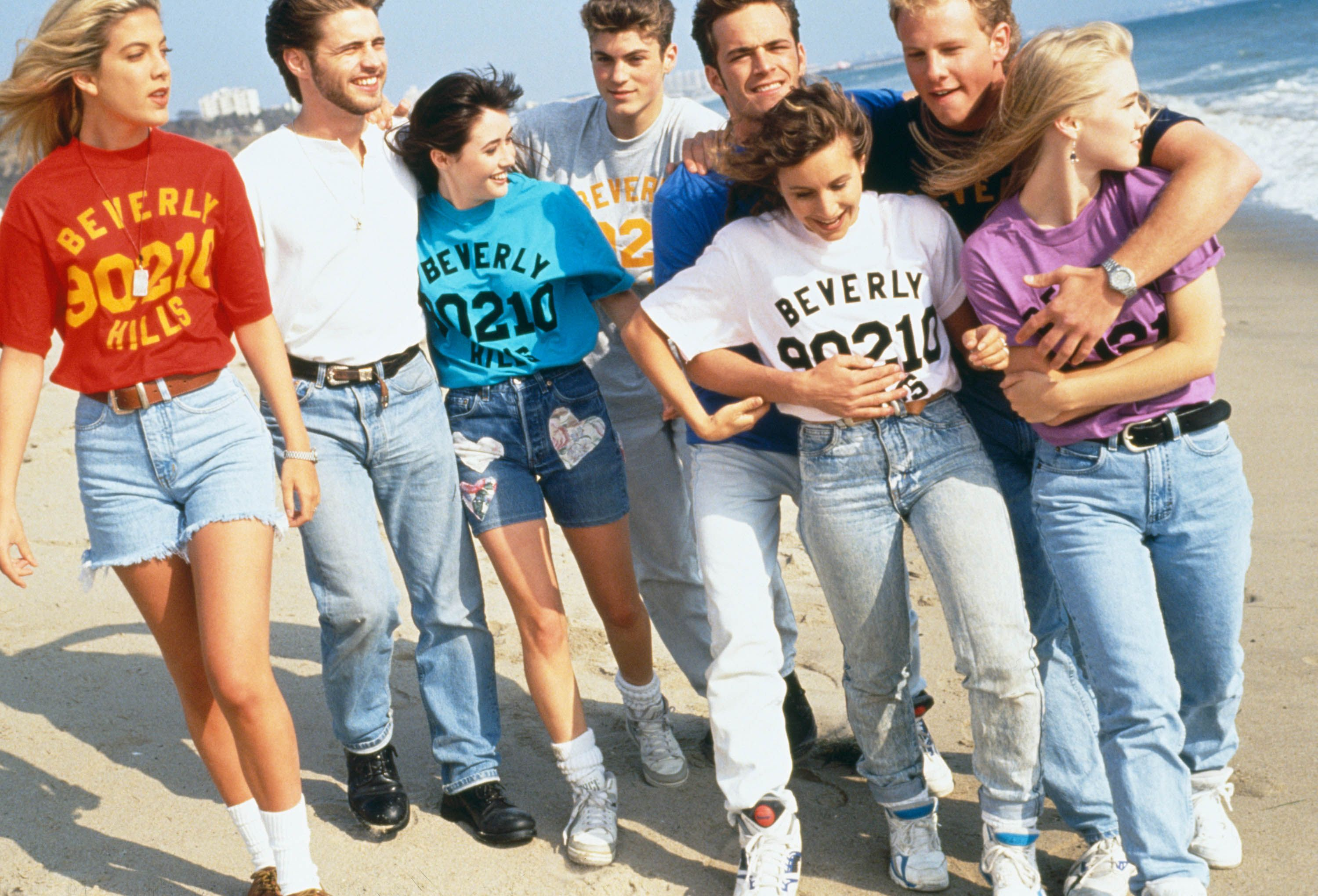 Cast of Beverly Hills, 90210 in 1991.