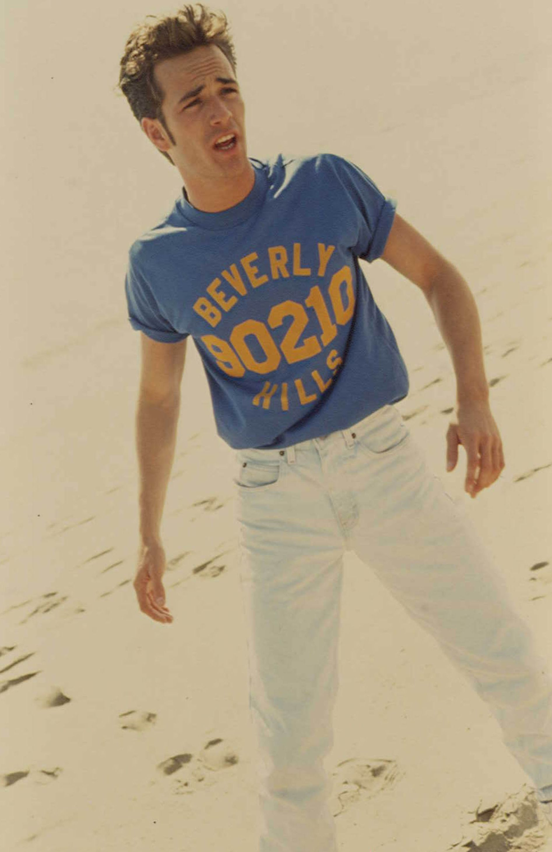 Perry on set of Beverly Hills, 90210 in 1991.