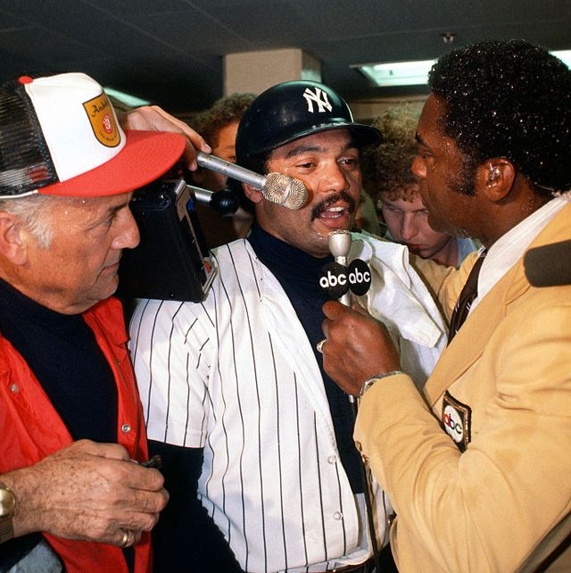 new york   october 18 reggie jackson 44 of the new york yankees celebrates and talks with the media after they defeated the los angeles dodgers in game 6 of the 1977 world series october 18, 1977 at yankee stadium in the bronx borough of new york city the yankees won the series 4 games to 2 photo by focus on sportgetty images