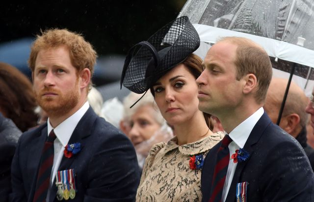 thiepval, france   july 1  l r prince harry, catherine, duchess of cambridge and prince william, duke of cambridge during the commemoration of the centenary of the battle of the somme at the commonwealth war graves commission thiepval memorial on july 1, 2016 in thiepval, france the event is part of the commemoration of the centenary of the battle of the somme at the commonwealth war graves commission thiepval memorial in thiepval, france, where 70,000 british and commonwealth soldiers with no known grave are commemorated photo by steve parsons   poolgetty images