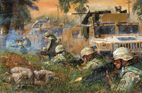 amerikan tankları ve askerleri yol kenarındaki bir saldırının ardından isyancı keskin nişancılara ateş ediyor, salman pak, iraq, 20 mart 2005 tuval üzerine yağlıboya, dietz photo by vcg wilsoncorbis via getty images