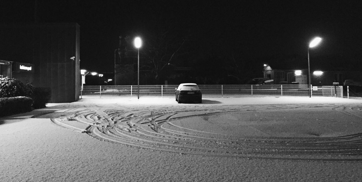 practice winter driving in empty snow covered parking lots. Black Bedroom Furniture Sets. Home Design Ideas