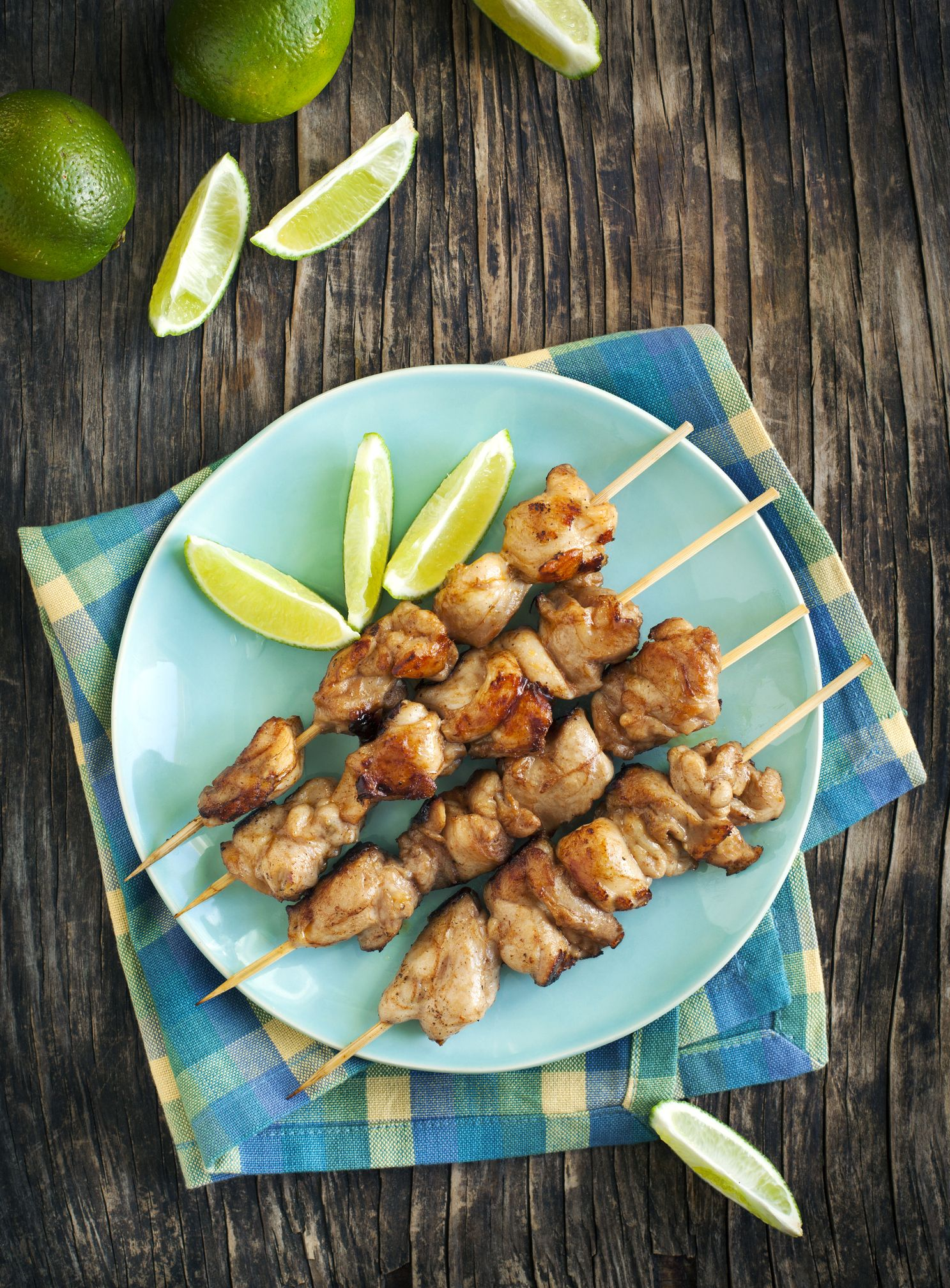 Mahogany chicken skewers