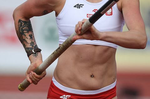 amsterdam , netherlands   7 july 2016 detail view of a tattoo on the arm of justyna smietanka of poland during the womens pole vault qualifying on day two of the 23rd european athletics championships at the olympic stadium in amsterdam, netherlands photo by brendan moransportsfile via getty images