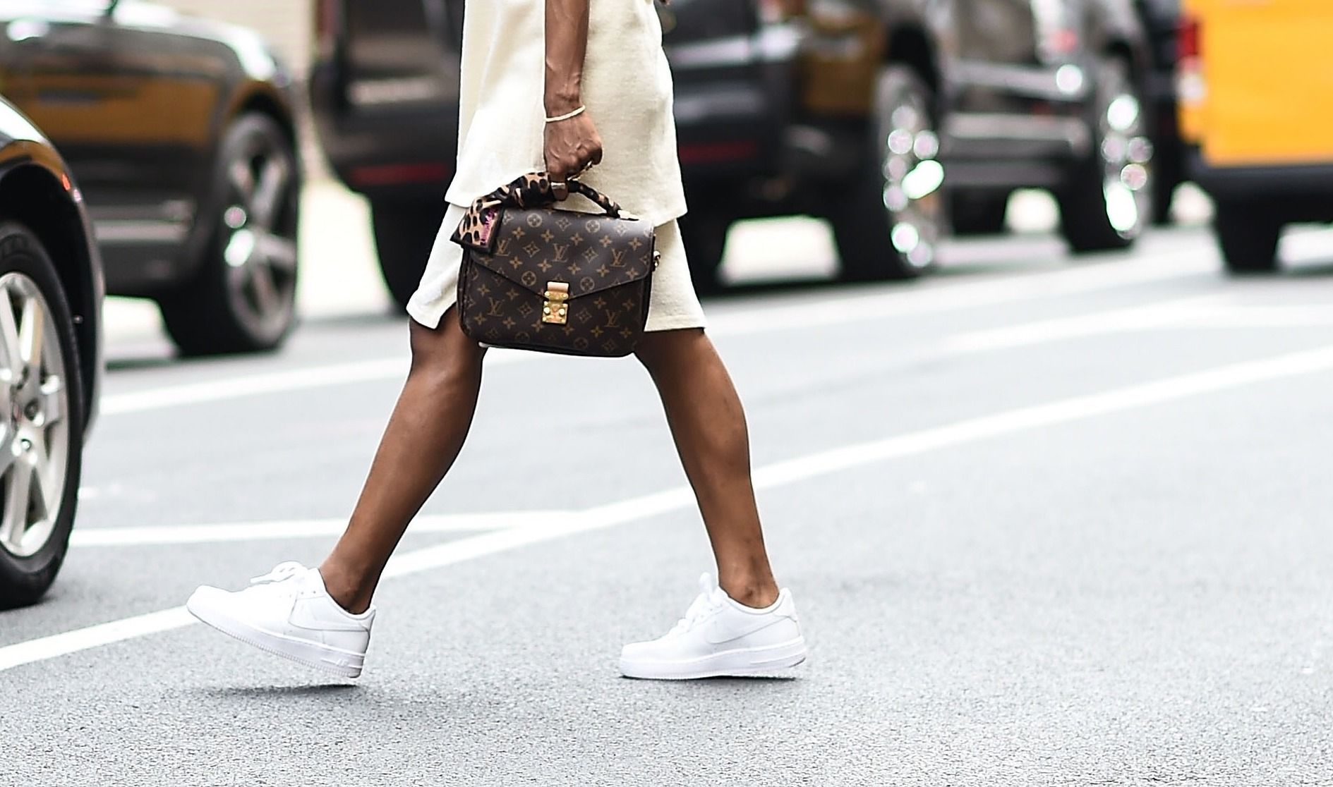 summer dress with sneakers