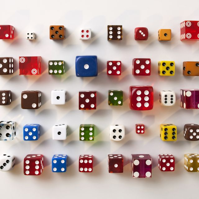 Variety of multi coloured dice