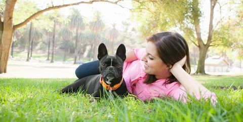 People in nature, Mammal, Dog, Photograph, Canidae, Grass, Dog breed, Love, Happy, French bulldog,