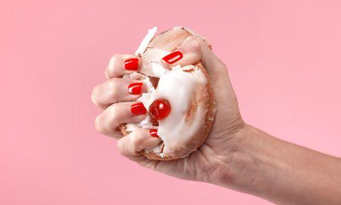 Hand, Nail, Finger, Lip, Meringue, Food, Ice cream, Frozen dessert, Flesh, Foot,