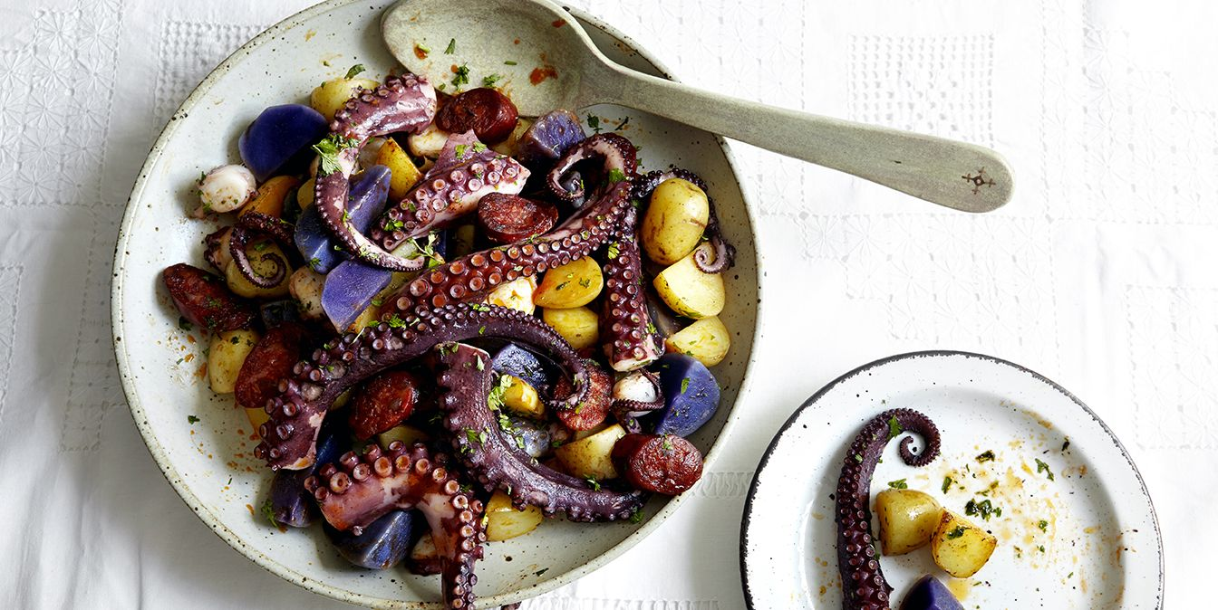 Bowl of octopus tentacles and potatoes