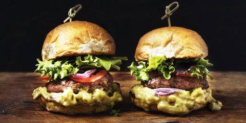 Hamburger, Food, Slider, Buffalo burger, Cheeseburger, Dish, Cuisine, appetizer, Bun, Veggie burger,