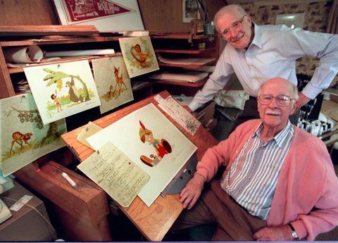 Next door neighbors Frank Thomas, standing rear, and Ollie Johnston, pair of octogenarian Disney ani