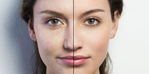Retouched face vs natural face