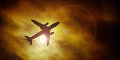 Sky, Airplane, Light, Atmosphere, Yellow, Wing, Aircraft, Flight, Cloud, Vehicle,