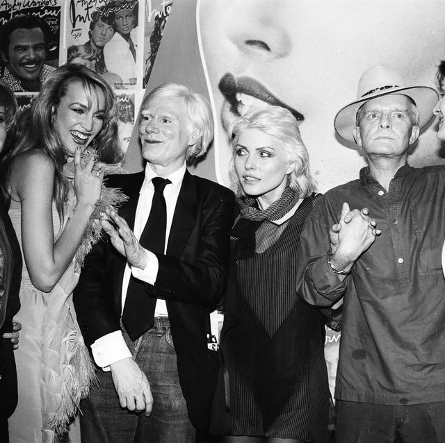 new york, ny   june 1979  jerry hall, andy warhol, debbie harry, truman capote, and paloma picasso at interview party at studio 54 in june 1979 in new york city  photo by sonia moskowitzgetty images