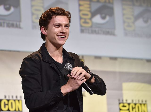 """san diego, ca   july 23  actor tom holland from marvel studios' spider man homecoming"""" attends the san diego comic con international 2016 marvel panel in hall h on july 23, 2016 in san diego, california ©marvel studios 2016 ©2016 ctmg all rights reserved  photo by alberto e rodriguezgetty images for disney"""