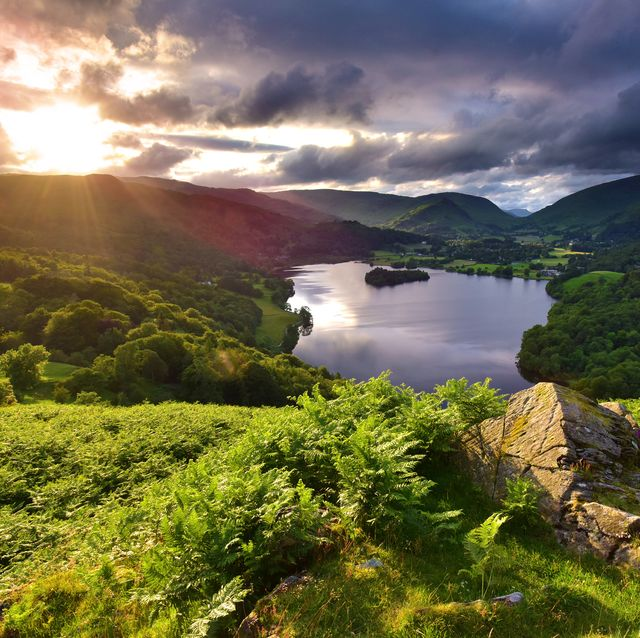 grasmere from loughrigg terrace in the lake district at sunset