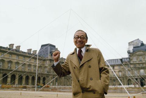 Architect I.M. Pei at Louvre Pyramid Site