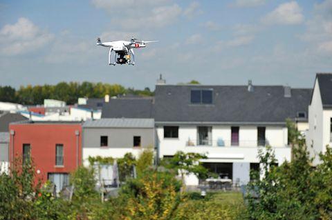 drone flying neighborhood