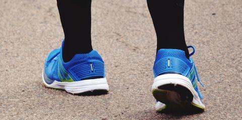 Footwear, Shoe, Blue, Electric blue, Cobalt blue, Sneakers, Nike free, Leg, Athletic shoe, Ankle,