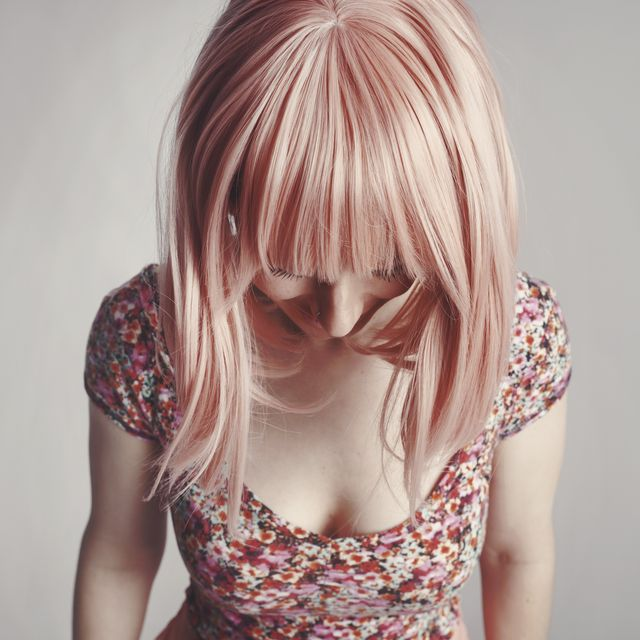Hair, Face, Blond, Pink, Hairstyle, Head, Skin, Beauty, Hair coloring, Nose,