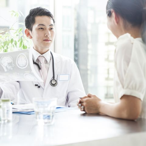 Doctor talking to patient while looking at the X-ray photo