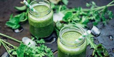Food, Vegetable juice, Health shake, Smoothie, Leaf vegetable, Plant, Herb, Superfood, Spinach, Drink,