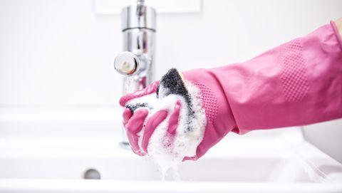 Pink, Hand, Sewing machine, Washing, Bathing, Bathroom, Plumbing fixture,