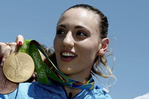 Greek Olympic gold medalist Anna Korakaki, in Athens