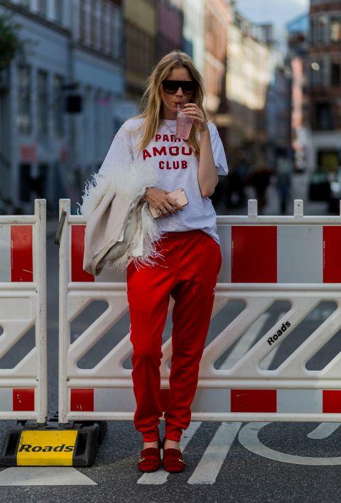 White, Red, Street fashion, Clothing, Fashion, Beauty, Footwear, Snapshot, Jeans, Sportswear,
