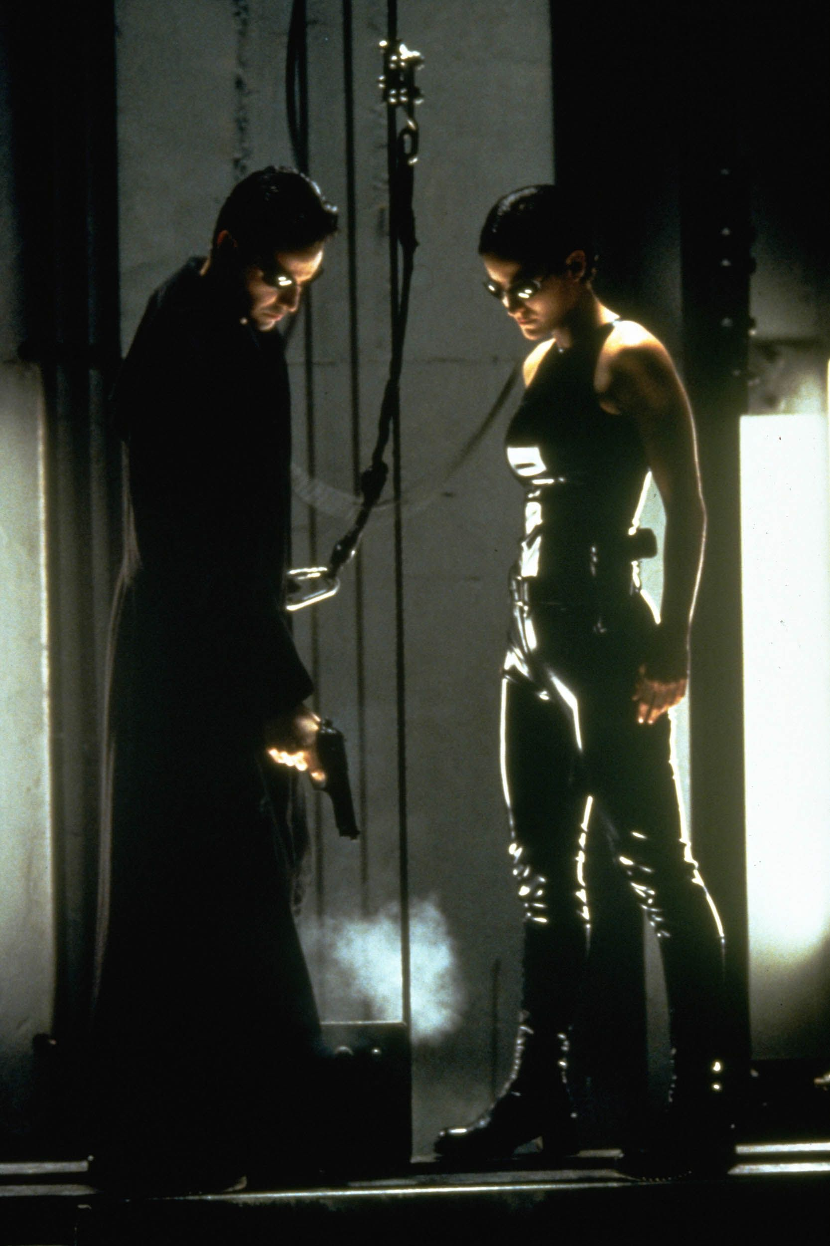 Keanu Reeves and Carrie-Anne Moss in the 1999 film The Matrix.