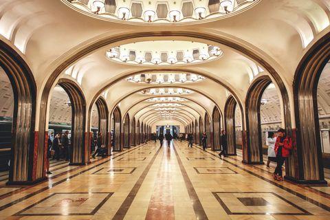 Mayakovskaya Metro station in Moscow, Russia