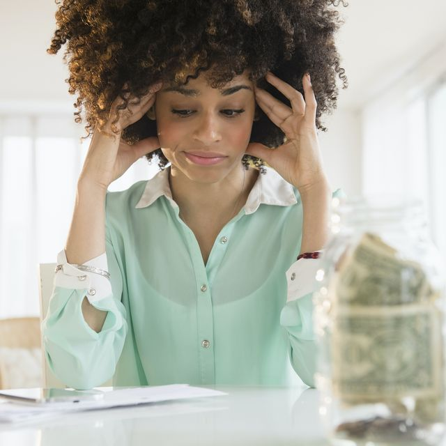 woman stressing over money
