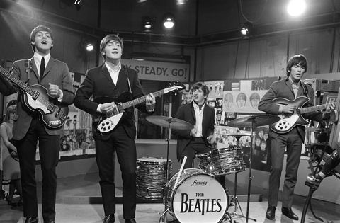 the beatles at television house, kingsway, for an appearance on the television show ready, steady, go left to right paul mccartney, john lennon, ringo starr and george harrison pictured playing on stage 20 march 1964 photo by unknownmirrorpixmirrorpix via getty images
