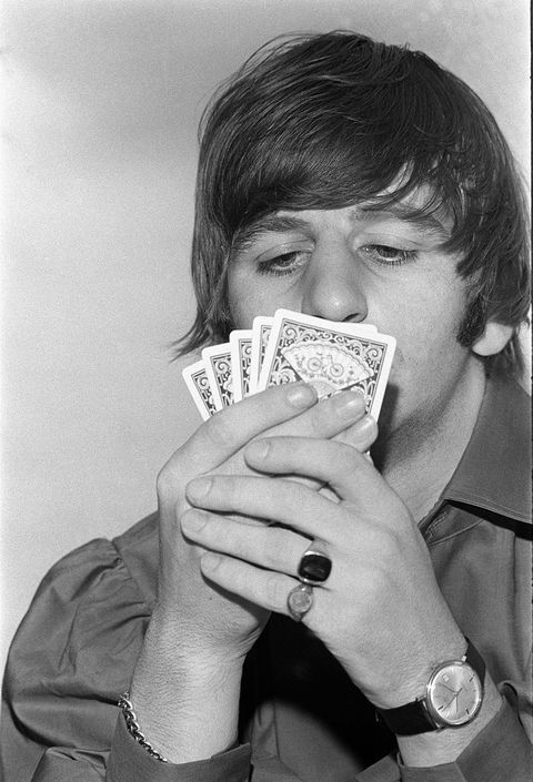 august 1964 ringo starr playing cards at rented bel air home during beatles tour photo by gunther, curtmirrorpixmirrorpix via getty images