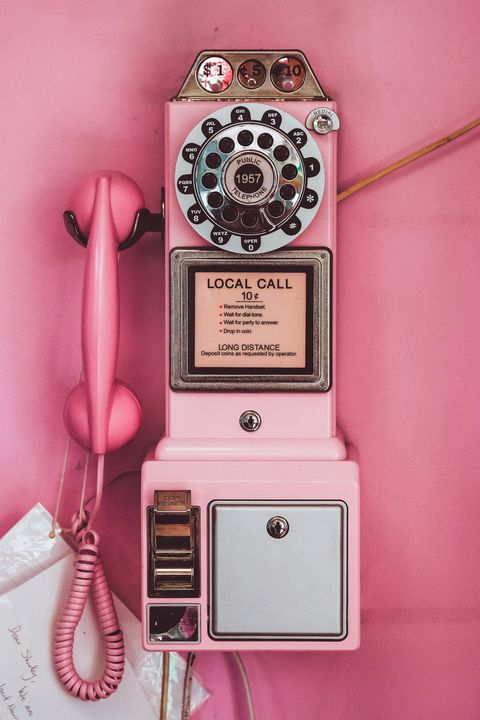 Pink, Corded phone, Payphone, Telephony, Telephone, Electronics, Technology, Electronic device, Magenta,