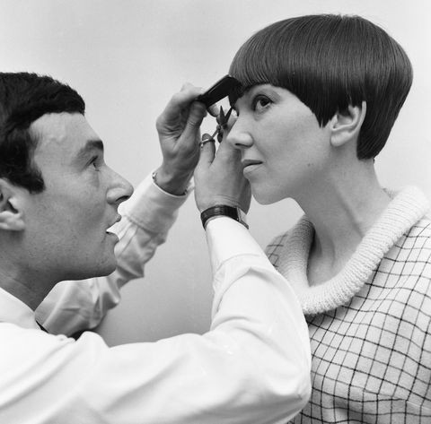 Fashion designer Mary Quant seen here having the finishing touches made to her new hairstyle by Vidal Sassoon 12th Novem