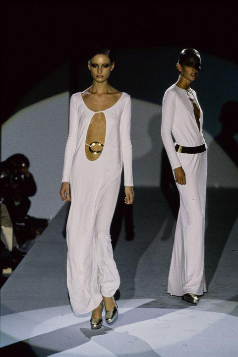 Fashion model, Fashion, White, Fashion show, Runway, Fashion design, Model, Event, Haute couture, Dress,