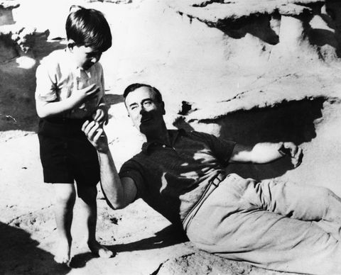 the young prince charles playing with his great uncle, lord louis mountbatten, after landing on the coast of malta, april 27th 1954 photo by central presshulton archivegetty images
