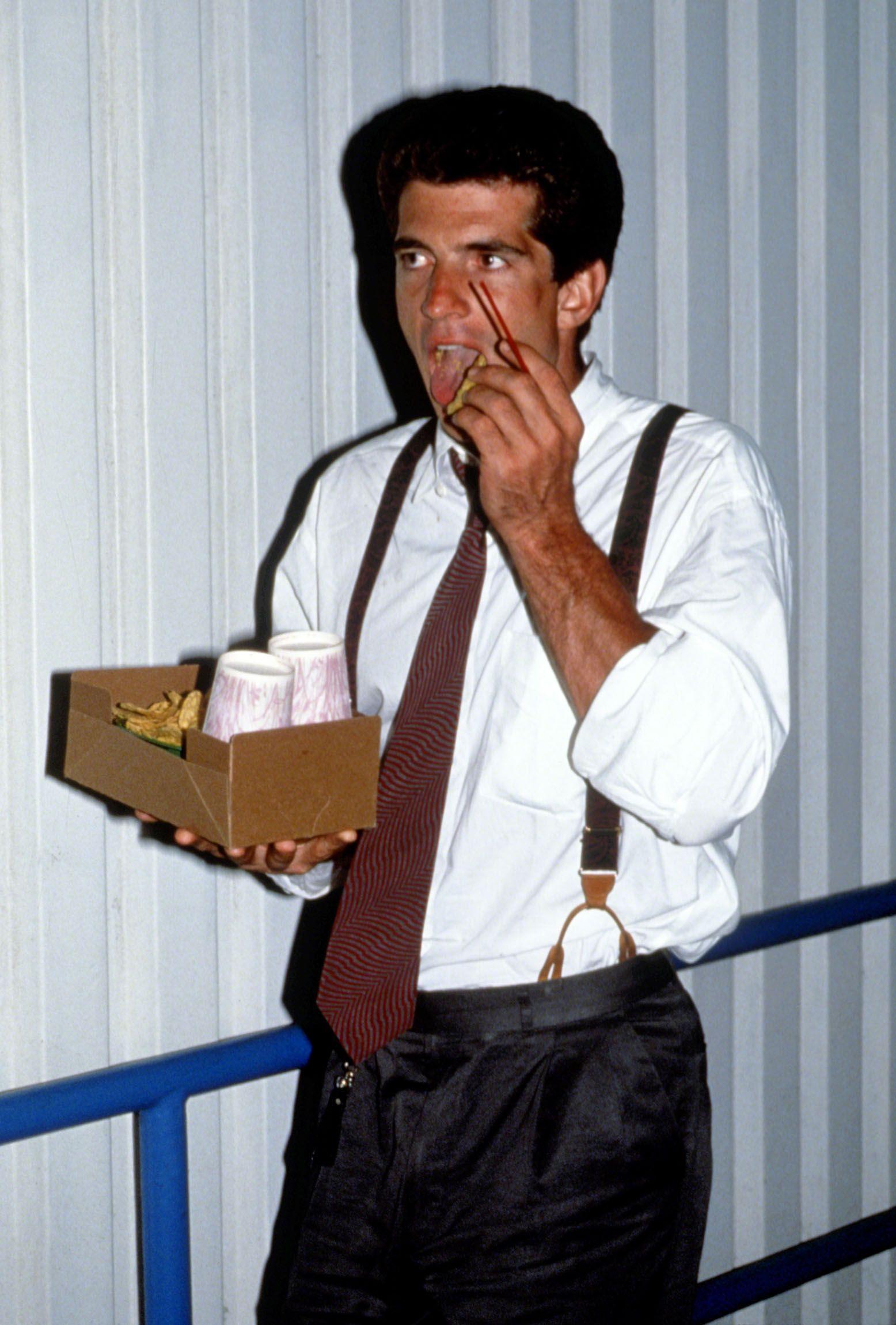 John F. Kennedy Jr. attends the 1991 U.S. Open Tennis Tournament  in Flushing, Queens.