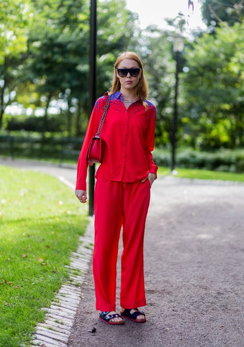 Clothing, Street fashion, Red, Pink, Fashion, Suit, Magenta, Pantsuit, Outerwear, Trousers,