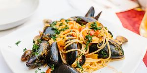 A plate of spaghetti with seafood