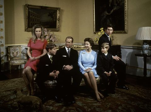 the royal family at buckingham palace, london, 1972 left to right princess anne, prince andrew, prince philip, queen elizabeth, prince edward and prince charles photo by fox photoshulton archivegetty imageselizabeth ii