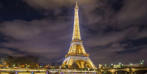Landmark, Tower, Sky, Night, Architecture, Cityscape, City, Metropolitan area, Yellow, Spire,
