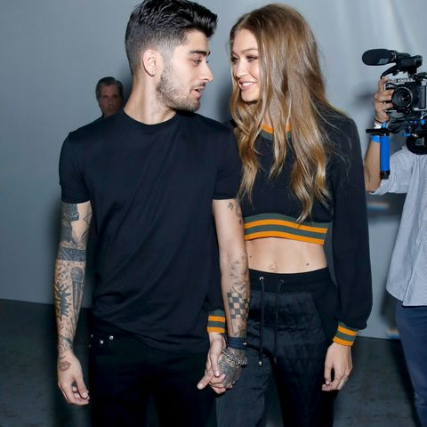 london, england   september 17  zayn malik and gigi hadid attend the versus versace show during london fashion week springsummer collections 20162017 on september 17, 2016 in london, united kingdom  photo by darren gerrishwireimage