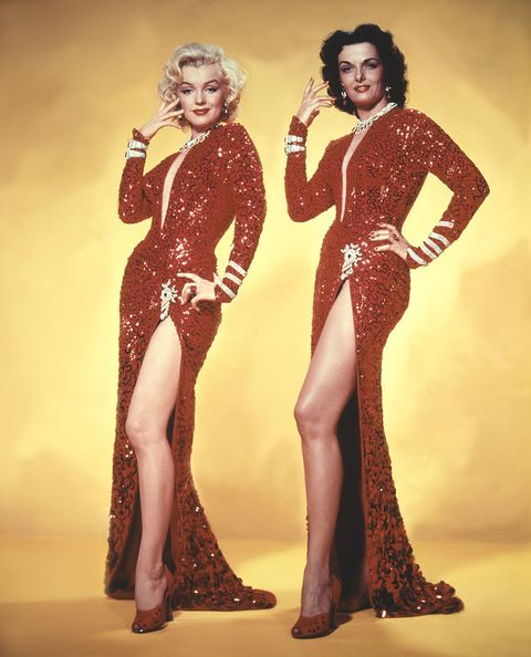 american actresses jane russell and marilyn monroe on the set of gentlemen prefer blondes, directed by howard hawks photo by sunset boulevardcorbis via getty images