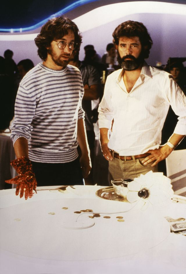 director steven spielberg and producer george lucas on the set of indiana jones and the temple of doom photo by sunset boulevardcorbis via getty images