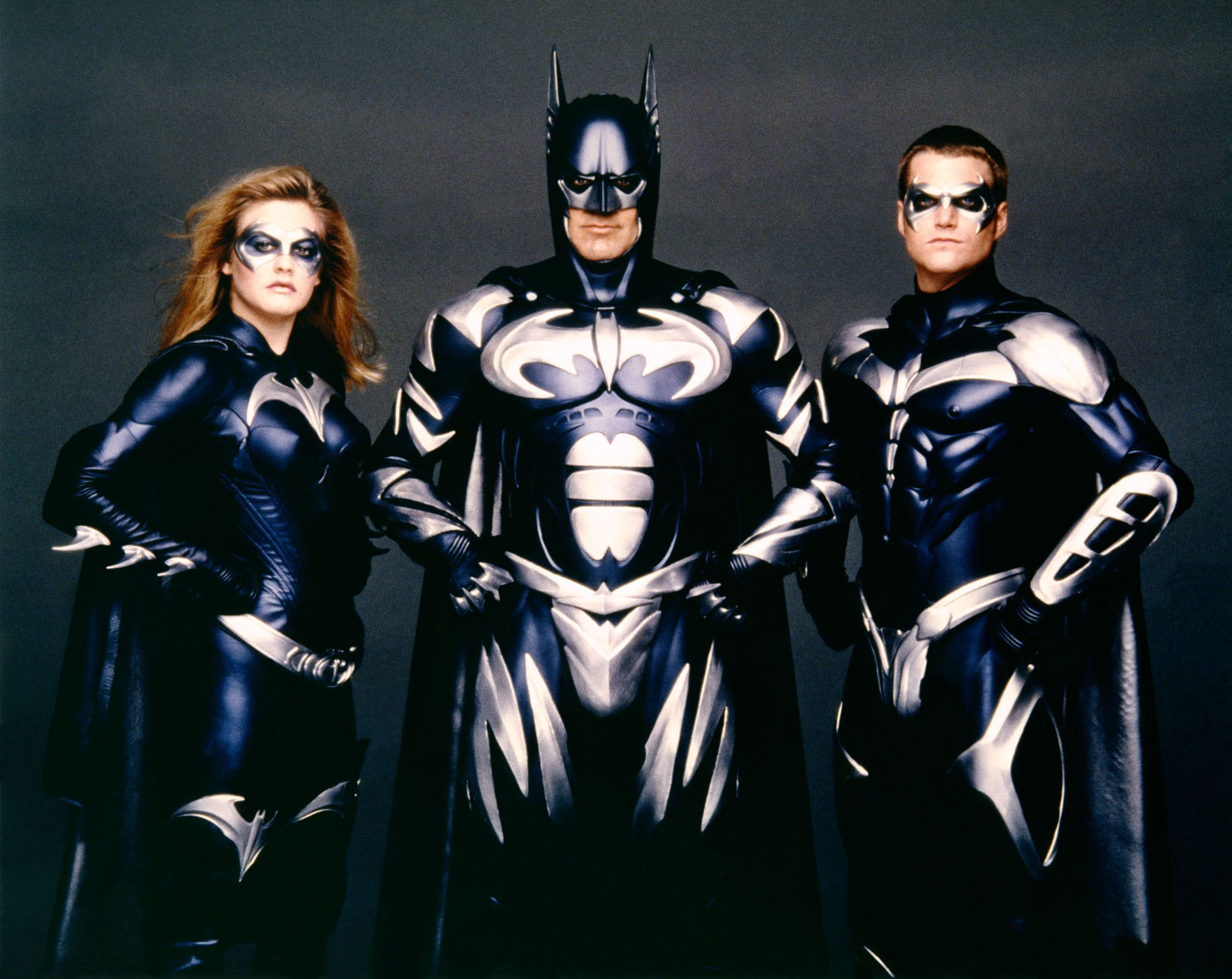 Alicia Silverstone, Clooney and Chris O'Donnell on the set of Batman & Robin , directed by Joel Schumacher in 1997.